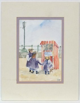 Kim Pragnell '87' Watercolour Punch And Judy Show