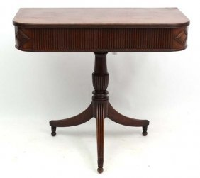 A Regency Pedestal Mahogany Console Table With Reeded