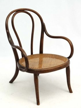 Thonet : A Cane Seated Bentwood Open Armchair Nursing