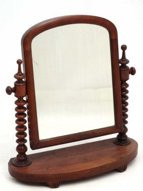 A Victorian Mahogany Arched Top Dressing Table Mirror