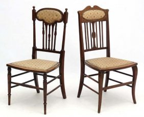 Two Edwardian Inlaid Mahogany Bedroom Chairs, The
