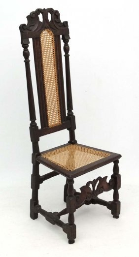 A 17thc Caroleon Carved Oak Chair With Crinolyn
