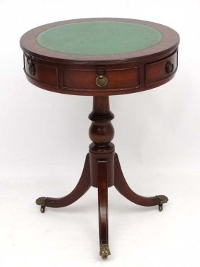A Mid - Late 20thc 6-drawer Mahogany Tripod Drum Table