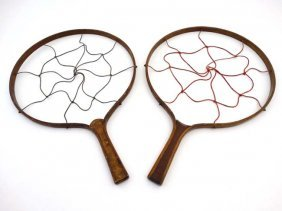 An Unusual Matched Pair Of 19thc Gaming Rackets Of Bent