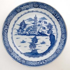 A Chinese Blue And White Plate Decorated To Central