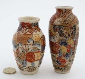 Two C1920s Miniature Earthenware Satsuma Vases, Each
