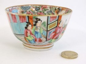 A Chinese Export Style Famille Rose Tea Bowl, Decorated