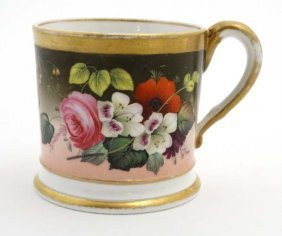 A 19thc English Hand Painted Cup With Polychrome Floral