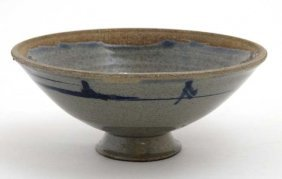A Small Studio Pottery Bowl On Pedestal Base Decorated