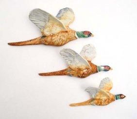A Set Of Three Graduated Beswick Pheasant Wall Plaques,