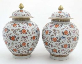 A Large Pair Of Chinese Lidded Bulbous Vases, Decorated