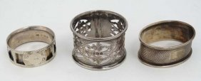 3 Various Napkin Rings To Include One Hallmarked