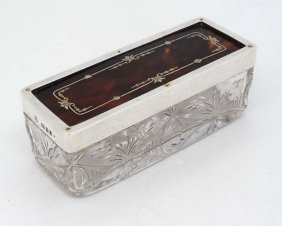 A Cut Glass Dressing Table Box With Silver And