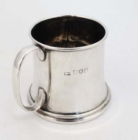 A Silver Christening Mug With Loop Handle. Hallmarked