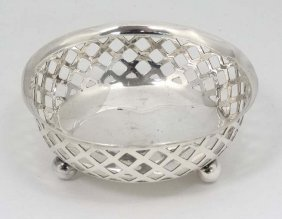 A Silver Bon Bon Dish Of Circular Form With Three Ball