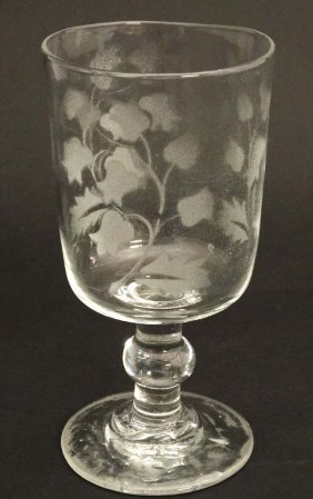 A Late 19thc / Early 20thc Glass With Acid Etched Lily