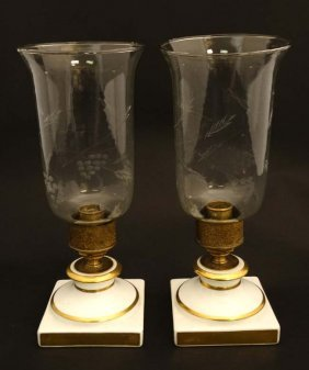 A Pair Of White Ceramic Candlestick Bases By Halcyon