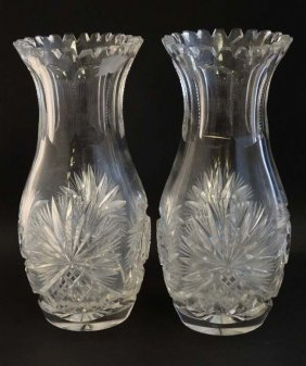 A Pair Of Lead Crystal Cut Glass Vases With Flared Rims