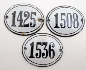 Three French Vintage French Enamel Number Of Oval Form,