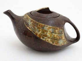 An Art Deco Ceramic ' T- Flow ' Teapot Marked Under