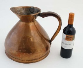 A 19thc Copper Harvest 2 Gallon Measure With