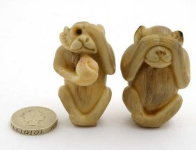 Two 19thc Japanese Carved Ivory Monkeys, One With Glass