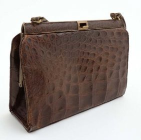 Vintage Retro : Crocodile Skin Conker Brown Handbag,
