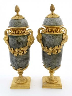 A 21stc Pair Of Victorian Style Marble And Ormolu