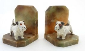 A Pair Of Art Deco Bookends Formed As Alabaster And