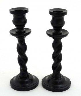 A Pair Of Early 20thc Ebony Barley Twist Candlesticks