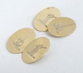 2 Pairs Of 9ct Gold Cufflinks One Pair Engraved With