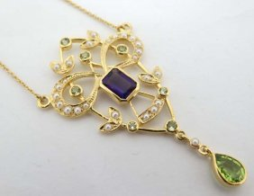 A Silver Gilt Necklace, Pendant On Chain, The Pendant