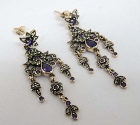 A Pair Of Yellow Metal And 9ct Gold Drop Earrings Set