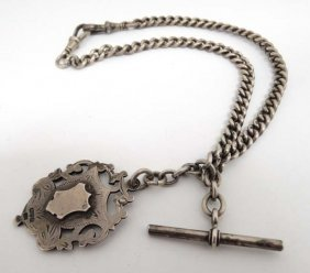 A Silver Albert Watch Chain With Hallmarked Silver Fob