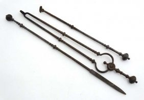 A Set Of 3 19thc Steel Fire Tools To Include Poker,