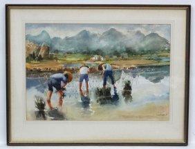 Gerald Koge 88 Hong Kong, Watercolour, ' Planting Rice
