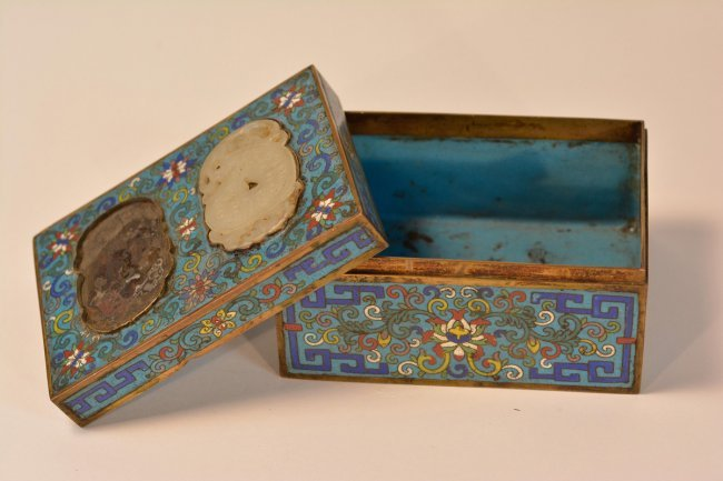 Chinese Cloisonne Box With Jade Plaque Inserts Lot 434