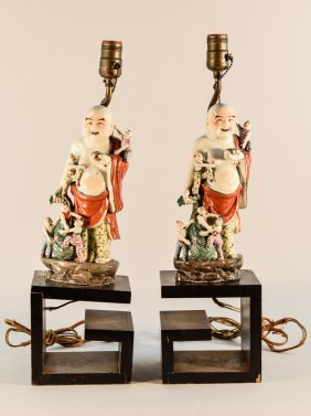 Pair Chinese Porcelain Happy Buddha With Base