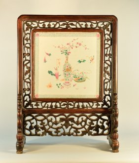 Chinese Rosewood Table Screen With Porcelain Tile