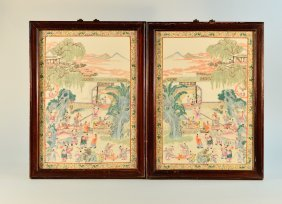 Pair Chinese Porcelain Plaques With Children Playing