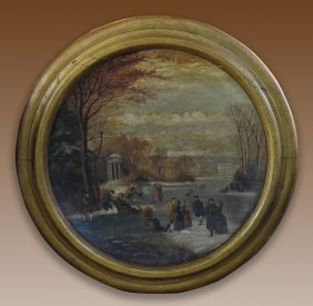Large Continental French Oil Painted Wood Round Charger