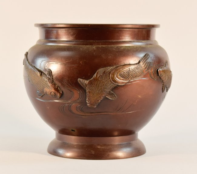 Japanese bronze bowl with koi scene lot 106 for Koi viewing bowl