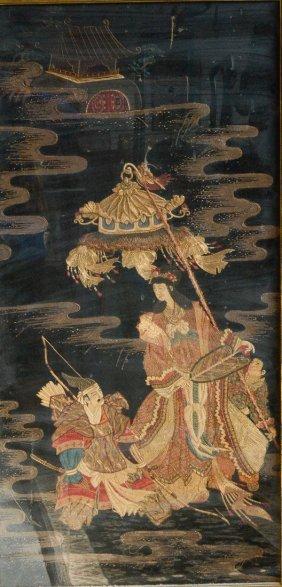 Japanese Embroidery Panel Of Samurai And Princess