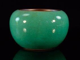 Chinese Apple Green Glazed Porcelain Brush Washer