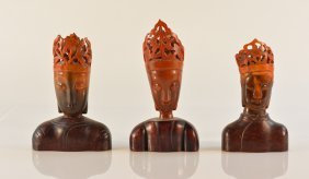 Group Of Three Chinese Horn And Wood Buddha Head
