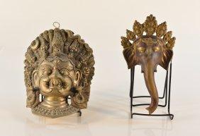 Two Nepal Bronze Mask - Ganesh And Guardian