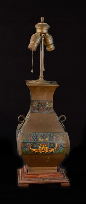 Chinese Cloisonné And Bronze Vase