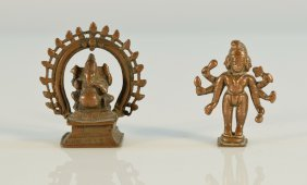 Group Of Two Old Indian Bronze Figurine
