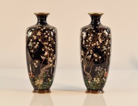 Pair Signed Japanese Silver Wire Cloisonné Vases