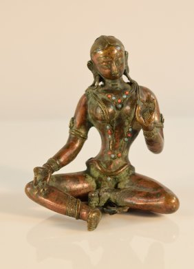 Nepalese Seated Bronze Figurine With Inlayed Jewels